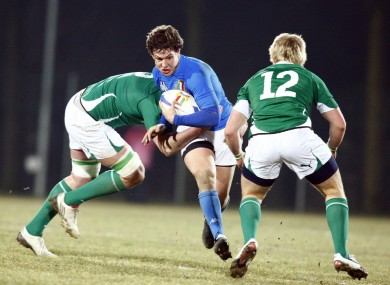 Luca Morisi in action for the Italian U20s against Ireland in 2011.