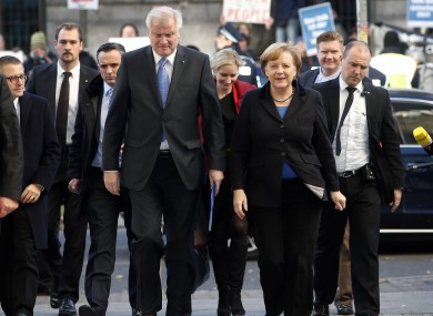 German Chancellor and chairwoman of the Christian Democratic Union (CDU), Angela Merkel, front right, and the chairman of the Christian Social Union (CSU), Horst Seehofer, front left.