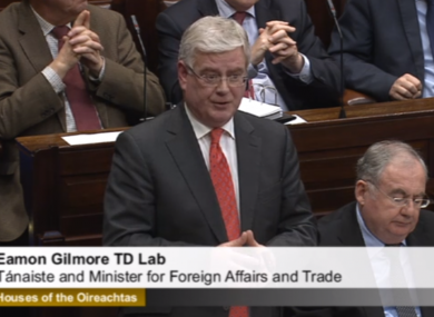 Eamon Gilmore in the Dáil this afternoon