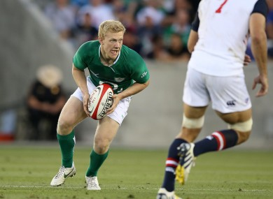 Olding in action for Ireland earlier this summer.