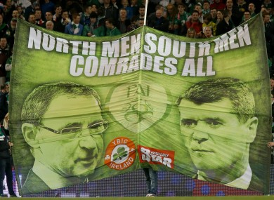 A banner unveiled at Martin O'Neill's first game in charge.