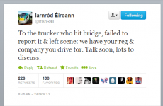 Irish Rail tweets that they're coming for the truck driver who hit a bridge