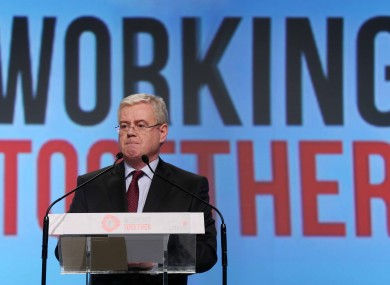 Eamon Gilmore speaking at the Labour conference last night.