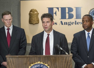 From left to right, TSA Administrator John S. Pistole, FBI Special Agent in Charge David L. Bowdich, and US Attorney Andre Birotte Jr