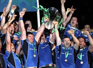 Leinster celebrate their 2011 victory.