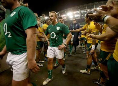 Luke Marshall trudges down the tunnel after Ireland lost 32-15 to Australia.