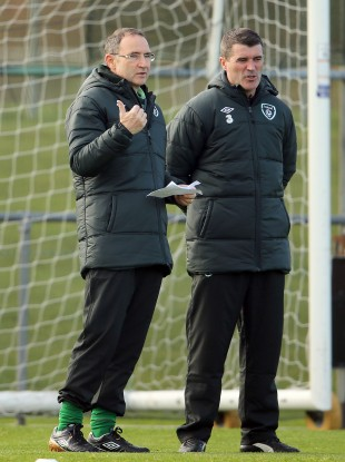 O'Neill and Keane at Ireland training in Malahide today.