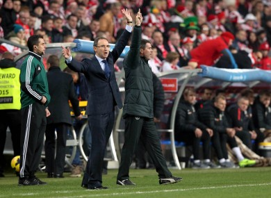 Ireland manager Martin O'Neill and assistant manager Roy Keane.