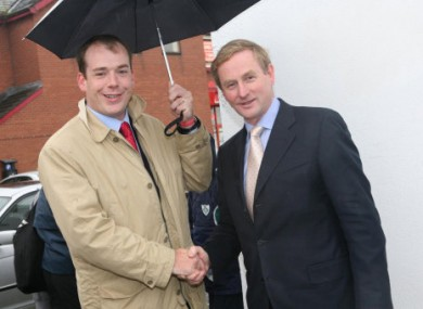 File photo of councillor Darren Scully welcoming Taoiseach Enda Kenny to Naas in October, 2006.