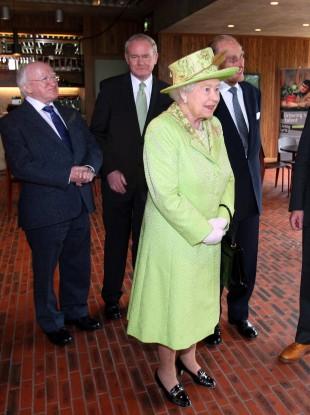President Michael D Higgins, Martin McGuinness, Queen Elizabeth II and Prince Philip in Belfast last year.