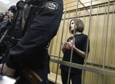 Nadezhda Tolokonnikova in the defendants cage during a court hearing in 2012.