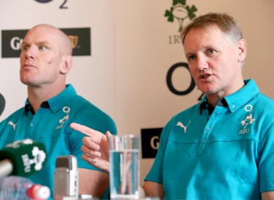 Ireland captain Paul O'Connell sits alongside head coach Joe Schmidt.