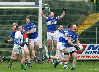The Portlaoise players celebrate after today's game.