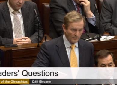 Taoiseach Enda Kenny in the Dáíl today