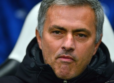 Chelsea manager Jose Mourinho watches on during his side's loss to Newcastle.