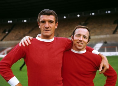 Foulkes (left) with Nobby Stiles in 1968.