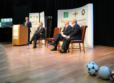 Kenny was joined by (l-r) Northern Ireland's First Minister Peter Robinson, Tánaiste Eamon Gilmore, and NI Deputy First Minister Martin McGuinness.