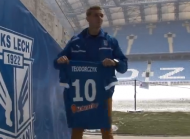 Łukasz Teodorczyk after signing for Lech Poznan.