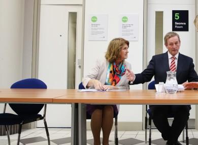 Minister Joan Burton and Taoiseach Enda Kenny at the Intreo centre in Ballyfermot.