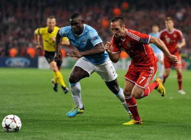 Micah Richards chases down Franck Ribery back in October.