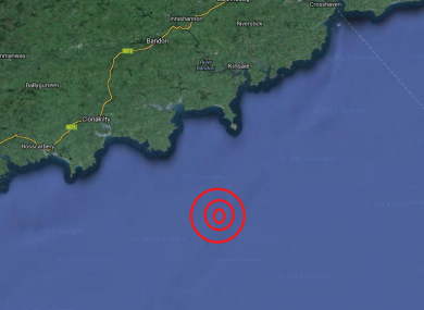 Estimated epicentre of this morning's earthquake.