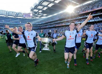 Ger Brennan and Diarmuid Connolly celebrating Dublin's All-Ireland winners.