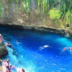 Dive into the clear blue water of the Hinatuan River on the Philippine island of Mindanao. The saltwater river is nicknamed the