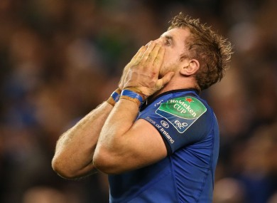 Jamie Heaslip shows his dejection following the loss to the Saints.