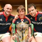 The prop (right), celebrates Heineken Cup success with John Hayes and Jerry Flannery in 2008.<span class=