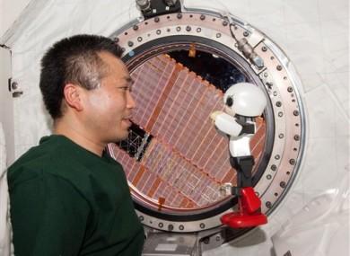 Kirobo and Japanese astronaut Koichi Wakata.