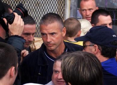 McGinn walking free from the Maze prison in 2000.