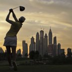 Pernilla Lindberg of Sweden plays a ball on the 8th hole during the 2nd round of Dubai Ladies Masters golf tournament in Dubai, United Arab Emirates.<span class=