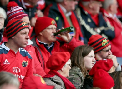 Munster fans watch the Edinburgh game earlier this season.
