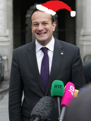 Leo Varadkar wearing a hat designed by TheJournal.ie's Paul Hosford