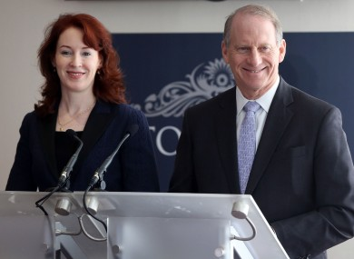 Former US diplomat Richard Haass, assisted by Harvard professor Meghan O'Sullivan, speaking to the media at the Stormont Hotel, yesterday.