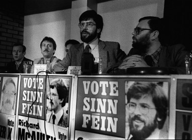 Gerry Adams at a press conference in Belfast to la
