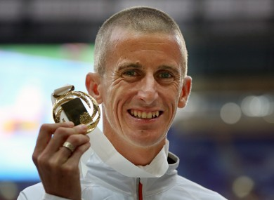 Rob Heffernan with his World Championship gold.