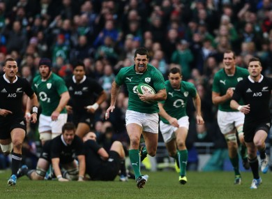 Ireland's Rob Kearney on his way to scoring his side's third try during the Guinness Series match at the Aviva Stadium.