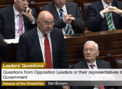 Ruairí Quinn in the Dáil this morning