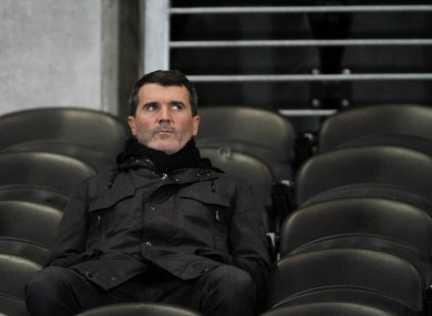 Keane pictured watching yesterday's Premier League game between Hull and Stoke.