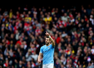 Negredo salutes the Man City fans.