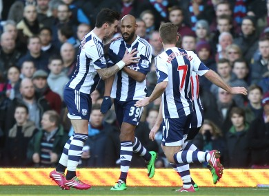 West Bromwich Albion's Nicolas Anelka (centre) celebrates scoring their opening goal of the game with teammates Liam Ridgewell (left) and James Morrison.