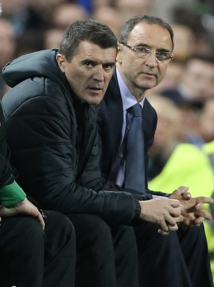 Martin O'Neill (right) and assistant manager Roy Keane before the International Friendly with Latvia at the Aviva Stadium earlier this year.