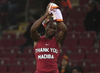 Drogba in the T-shirt that's landed him in hot water.