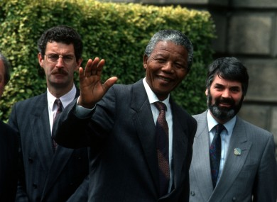 Nelson Mandela with Charlie Haughey, Dick Spring and Pronsias de Rossa in June 1990.