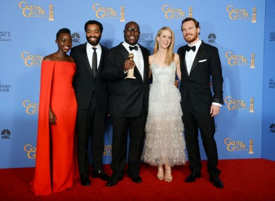 The cast of 12 Years A Slave celebrate their win.