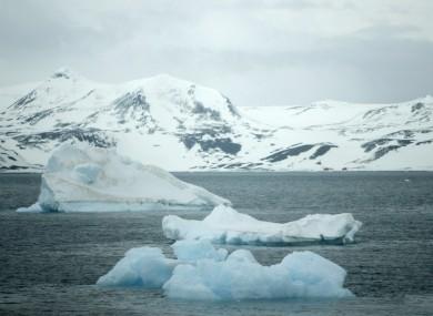 Melting icebergs in Antarctica