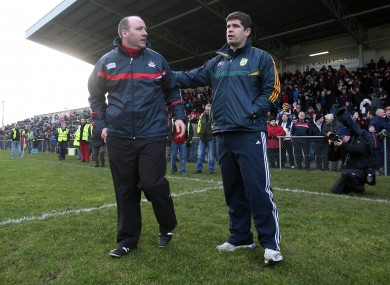 Cork manager Brian Cuthbert with Kerry boss Eamonn Fitzmaurice after yesterday's McGrath Cup final.