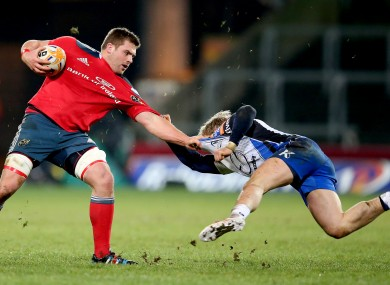 Stander takes on Connacht's Fionn Carr last month.
