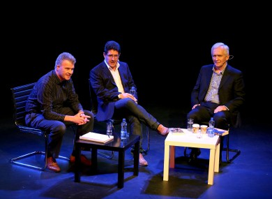 Alan English, Paul Kimmage and David Walsh in Dublin last year.